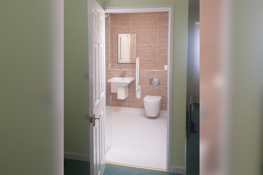 New larger level access assited wetroom created for a customer in Wareham by Room H2o