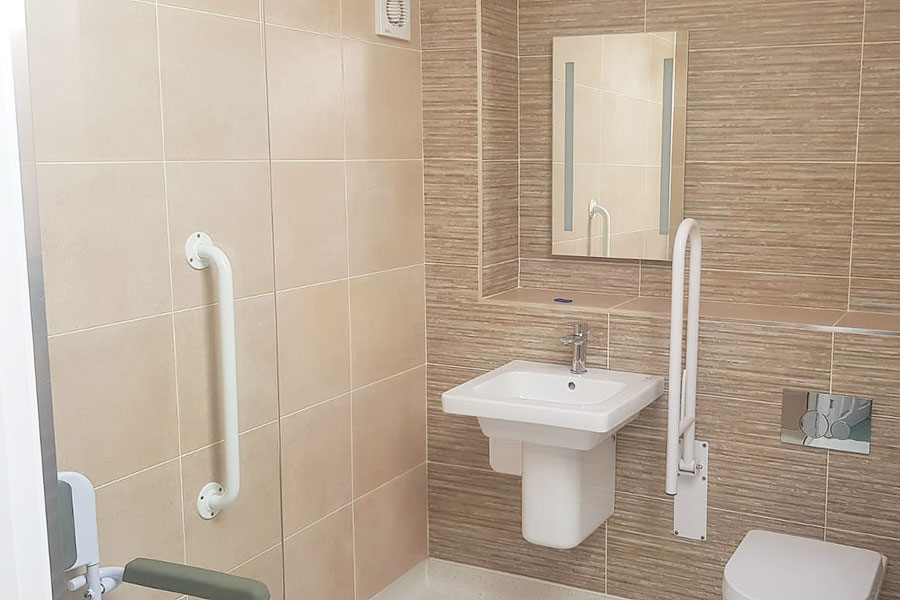 Grab rails make using this bathroom much easier for the homeowner