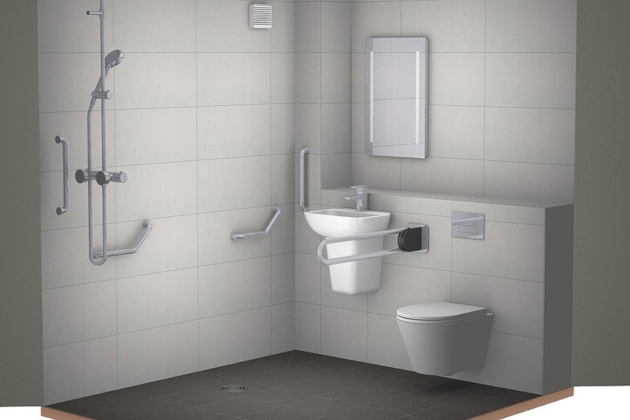 Virtual design for a disability wetroom in Wareham by Room H2o
