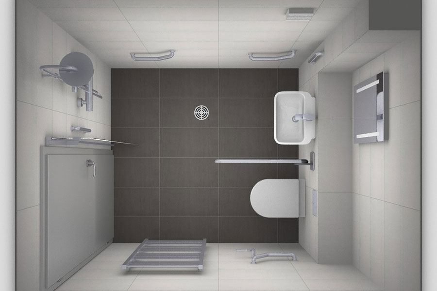 Overhead virtual view of a disability wetroom designed bt the team at Room H2o in Dorset