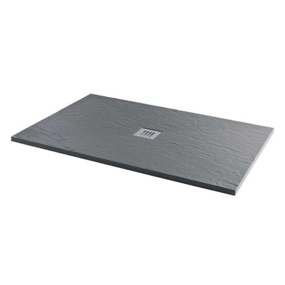 Refelion cast stone slate effect rectangular shower trays with slip resistant surface finish