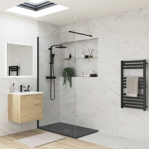 Designer slate effect black ultra-slim shower tray with walk-in shower panel