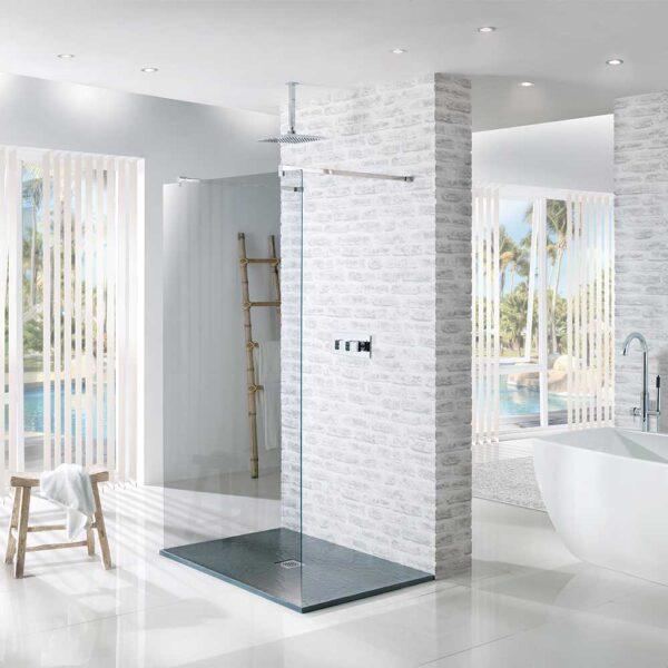 Rectangular black slate effect Reflexion shower tray with anti-slip slate effect finish