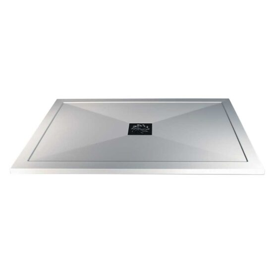 Ultra-slim 25mm white stone resin shower tray by Bathrooms To Love