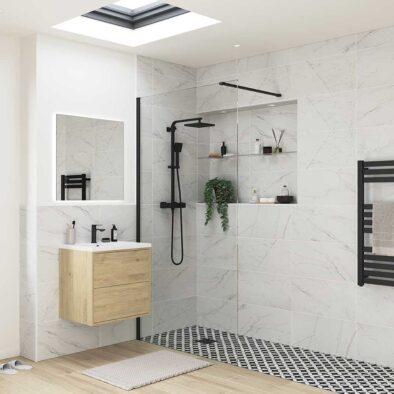 Reflexion Iconix Black Profile Wetroom shower screen