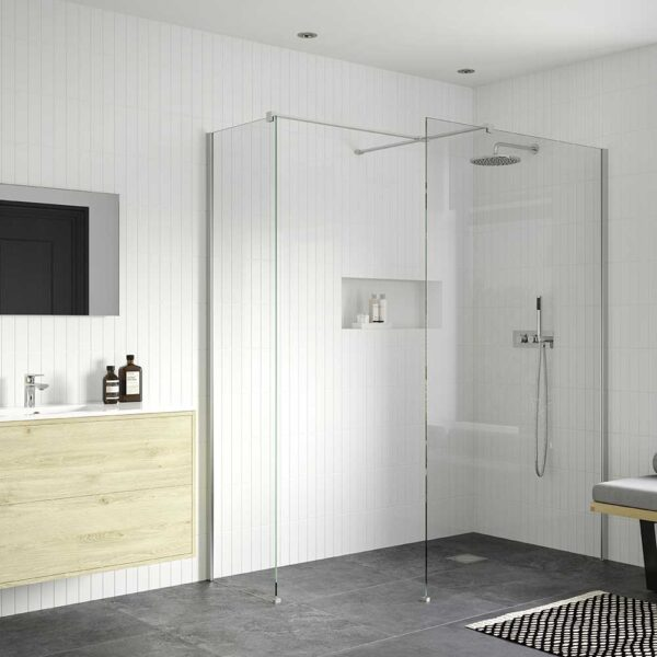 Reflexion Iconix Wetroom shower screen with side return panel and support bar in chrome