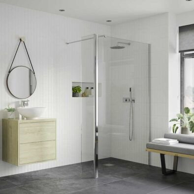 Reflexion Iconix Wetroom Panel with 300mm hinged flipper screen