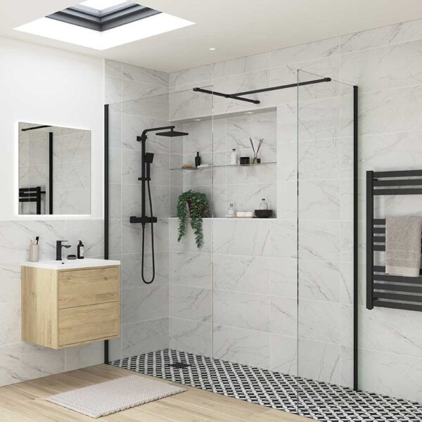 Reflexion Iconix Black Profile Wetroom shower screen with optional side return panel