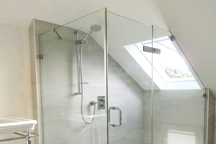 Frameless glass loft shower designed and installed by Room H2o