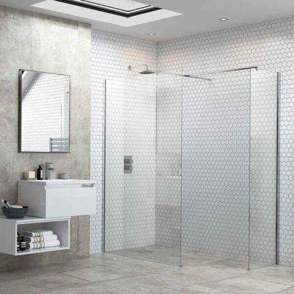 Reflexion Flex Wetroom shower screen and optional side return panel