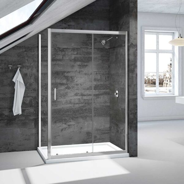 Merlyn Vivid Boost Loft 1200mm sliding shower door with side return panel