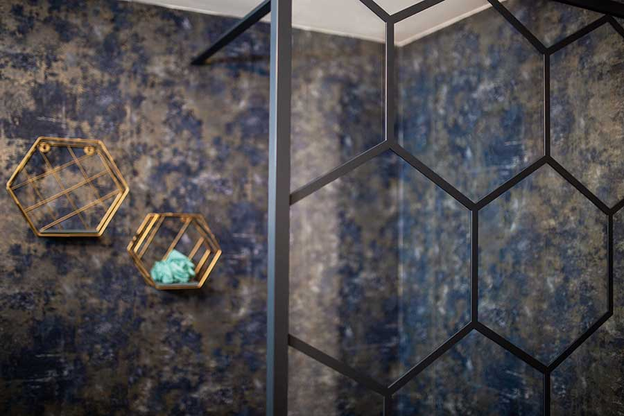 Drench matte black shower screen with hexagon grid