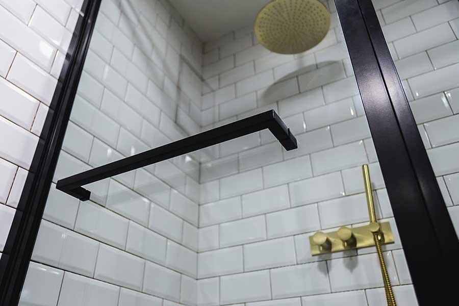 Drench black shower enclosure with towel rail door handle