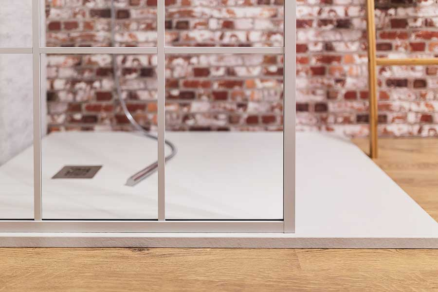 Drench white Crittall style shower screen