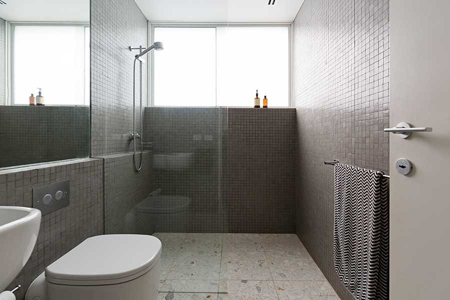 Bathroom with wet room shower